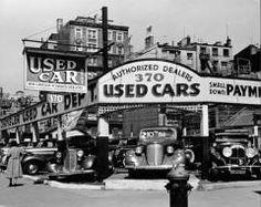Foto antigua de coches usados en la Séptima Avenida de Nueva York, 1940