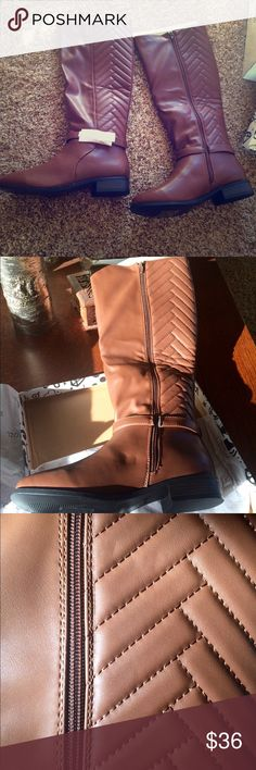 Bamboo Chestnut Knee-High Boot w/side zipper: SZ 8 NIB - Chestnut colored boot w/cool chevron pattern.  Man-made materials. Nice boot that won't break your piggy bank &I still give your wardrobe a boost. ✅ Bamboo Shoes Heeled Boots
