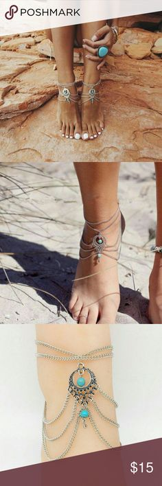 Pair of Boho Turquoise Bead Anklets Foot jelwelry with beautiful turquoise beads. The price is for the pair. NWOT Jewelry