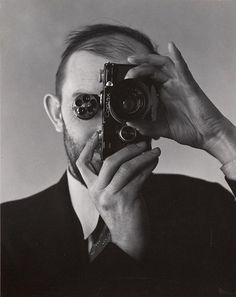 Ansel Adams with a Contax camera by Edward Weston. Lovely Contax I, with turret viewfinder.