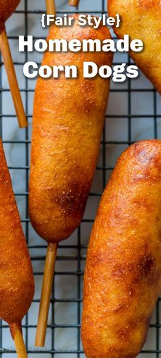 Honey-battered, hand-dipped Corn Dogs are a real treat especially for lunch or as an appetizer. You won't believe how easy it is to re-create homemade corn dogs from scratch. If you're looking for fun, family-friendly recipes, these corn dogs are a must-try! With a make-ahead option, these are fried to perfection with a crisp exterior and a soft cornbread inside that keeps the sausage juicy. Not to mention they are freezer friendly and reheat really well!