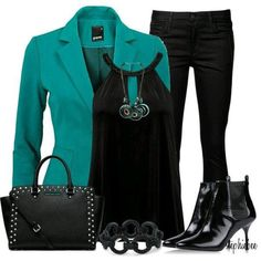 business attire for women Fashion Mode, Work Fashion, Womens Fashion, Fashion Trends, Latest Fashion, Komplette Outfits, Casual Outfits, Fashion Outfits, Teal Outfits