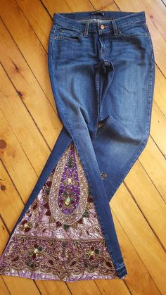 These are the most creative of my bell bottom jeans to date. If you are looking for sensational then these are it. Rock these at the club or your next music festival. Definitely one of a kind. I can also incorporate my new design into a skirt. Same deal as always. You can send me your own jeans to create with receiving a $10 discount or you can let me choose jeans for you. Contact me with any questions you may have.  Carefully and beautifully hand beaded designs. With Velvet, Satin, or Silk…