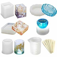 Epoxy Resin Silicone Molds, Large Art Resin Molds for Casting Coaster/Ashtray/Flower Pot/Pen Candle Soap Jewelry Holder - Includes Round, Square, Cylinder, Small Bowls with Mixing Cups & Wood Sticks Diy Resin Art, Epoxy Resin Art, Diy Epoxy, Diy Resin Crafts, Diy Silicone Molds, Resin Molds, Grand Art, Coaster, Diy Candle Holders
