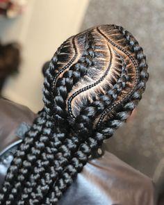 Two Cornrow Braids, Braided Cornrow Hairstyles, Feed In Braids Hairstyles, Cornrows, Nice Hairstyles, Black Girl Braids, Braids For Black Hair, Natural Hair Braids, Natural Hair Styles