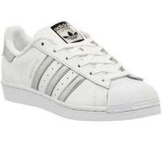 Adidas Superstar 1 ($100) ❤ liked on Polyvore featuring shoes, sneakers, adidas, chaussures, zapatos, trainers, unisex sports, white silver met core black, black white shoes and adidas shoes