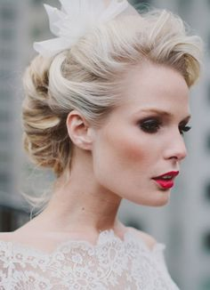20 Glamorous Red Lipstick Brides | SouthBound Bride | http://www.southboundbride.com/glamorous-red-lip-bridal-style | Credit: Rebekah Senter Photography/Ellen Bodkins/Eve Whittington via Burnett's Boards
