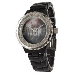 #WOKE Red Black& Gray Rhinestone Black Enamel Wrist Watch - #customize create your own personalize diy