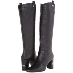 Stuart Weitzman Scottsdale Women's Dress Zip Boots, Black ($368) ❤ liked on Polyvore featuring shoes, boots, black, knee-high boots, crocs boots, knee boots, studded knee high boots, side zip boots and studded boots