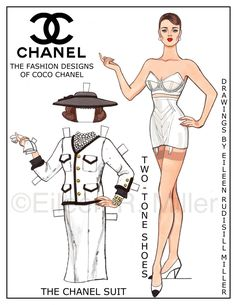Chanel Paper Doll Paper Dolls with sesiner designer clothing. Barbie Paper Dolls, Vintage Paper Dolls, Paper Art, Paper Crafts, Etiquette Vintage, Paper Dolls Printable, Retro Lingerie, Chanel Fashion, Paper Toys