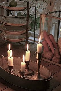 #Candles.... root vegetables stored in an aquarium?  <3