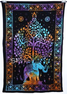 Queen Tie-dye Hippie Elephant Tapestry-Hippie Wall Hanging by Sparshh on Etsy