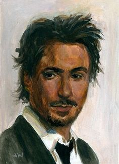 Iron Man Tony Stark Robert Downey Jr. ACEO Sketch Card by Jeff Ward #robertdowneyjr #tonystark #ironman #sketchcard #aceo #painting