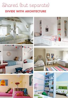 Shared (but separate) kids bedrooms. I like the bottom left for a small room!