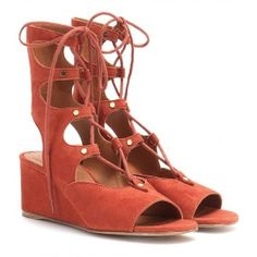 CHLOÉ Suede Gladiator Wedge Sandals RED