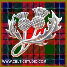 Scottish Double Headed Thistle Brooch Sterling by celticstudio, $44.98
