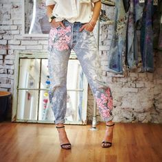 Vintage Levi's get a whole new look—hand-painted pink cherry blossoms in pretty patterns- PRESERVE EXCLUSIVE