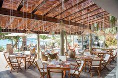 Set in Cala Nova bay, Aiyanna Ibiza in the North of Ibiza is a stylish, laidback-luxe beach club & beach restaurant in one. Beach Restaurant Design, Ibiza Restaurant, Outdoor Restaurant, Restaurant On The Beach, Restaurant Guide, Outdoor Lounge, Outdoor Seating, Beach Cafe, Ibiza Beach Club