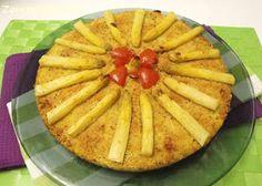 Torta di patate, cipollotti e asparagi - Potato cake, onions and asparagus http://zampetteinpasta.blogspot.it/2012/04/torta-di-patate-cipollotti-e-asparagi.html