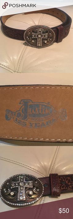 Belt Brown bling belt. Justin in excellent condition Justin Boots Accessories Belts