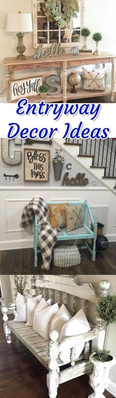 Entryway decor ideas for a small foyer or apartment entryway. Entryway benches, DIY entryway ideas, rustic, farmhouse entryway and foyer decorating pictures.