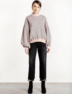 Pale Pink Oversize Stripe Balloon Sweatshirt