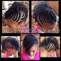 Cute braid cornrow style for little girl kids children. mohawk and two strand twists