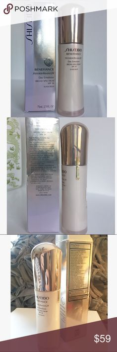 NEW! Shiseido WrinkleResist24 Day Emulsion Shiseido Benefiance WrinkleResist24 Day Emulsion 75mL (2.5 fl oz) Broad Spectrum SPF 18 NEW! SEALED Lightweight protective daytime moisturizer that helps smooth & prevent wrinkles. Age-defense, wrinkle-smoothing daytime moisturizer that protects skin from damage caused by external aging factors, including UV rays. This product provides skin with an intensive emulsion of hydration & powerful antiaging ingredients. It addresses lines and wrinkles…