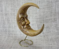 Moon Wood Carving Hand Carved Sculpture by Mike Berlin by BerlinGlass on Etsy