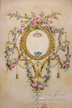 ✿ Le Marché aux fleurs ✿: Ornament of roses , garland & bird painted in the . Decoupage Vintage, Decoupage Paper, Classic Wall Paint, Rose Shabby Chic, Ornament Drawing, Wall Painting Decor, Foto Transfer, Illustration Blume, Baroque Pattern