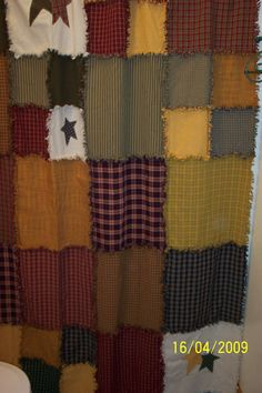 primitive ragged shower curtain...LOVE THIS!!! I WILL be making one!