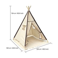 Lavievert children's, girls' play tent, teepee tent, made from 100 % cotton fabric and pine wood poles for indoor or outdoor use with waterproof mat Pvc Tent, Teepee Play Tent, Diy Teepee, Kids Tents, Teepee Kids, Teepees, Girls Play Tent, Canvas Teepee, Diy Bebe