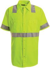 Red Kap Hi Visibility Green Short Sleeve Shirt - Class 2 Level 2 - Industrial, Green Shorts, Work Shirts, Clothing Items, Work Wear, Men Casual, Mens Tops, How To Wear, Clothes