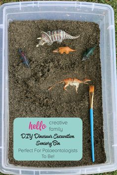 DIY Dinosaur Excavation Sensory Bin Perfect For Palaeontologists To Be! - Fun for Kids at Home - DIY Dinosaur Excavation Sensory Bin Perfect For Palaeontologists To Be! Dinosaurs Preschool, Dinosaur Activities, Fun Activities For Kids, Sensory Activities, Preschool Activities, Dinosaur Projects, Vocabulary Activities, Kids Activity Ideas, Dinosaurs For Kids