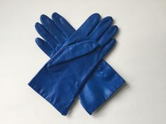 Royal Blue Leather Gloves Vintage 1960s Fownes Size 7