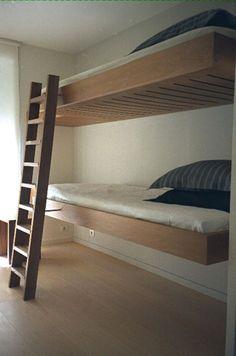 Stylish bunk beds, will need safety rail but love minimalism