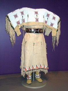 NMAI_Woman's Buckskin Dress (White Shoulders), via Flickr.
