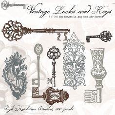 Vintage Welcome Signs Clip Art | Vintage Locks and Keys, digital clip art and photoshop brushes ...