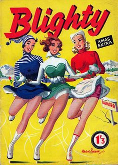 ice skating beauties | cute 1954 Blighty Magazine cover featuring three ice skating beauties ...