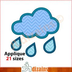 Rainy theme applique design. Machine embroidery design - INSTANT DOWNLOAD - 21 sizes. Rainy weather embroidery design. Cloud and rain drops by JLdizains on Etsy or www.alldayembroidery.com #embroidery #applique #machineembroidery #embroiderydesign