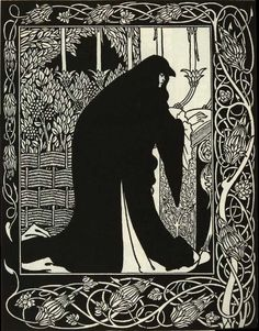 """""""Guenever in Mourning,"""" from the 1893-94 edition of Le Morte Darthur—illustrated by Aubrey Beardsley, published by J. M. Dent & Co., London. The book was the first major undertaking by the 20-year-old Beardsley, whose signature style already appears well-developed here. Although he only lived to 25, the work he created in those short years greatly influenced the budding Art Nouveau style."""