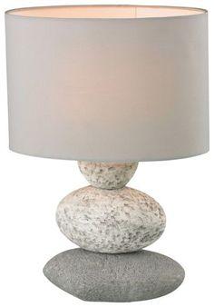 Tischleuchte aus Keramik und Textil in Grau - für stimmungsvolles Licht