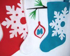 Modern Christmas Stocking  Snowflake  Choose by stitcholicious, $18.00