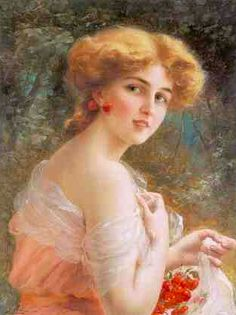 Young Lady With Cherries  ~ Emile Vernon ~ (French 1890–1920)
