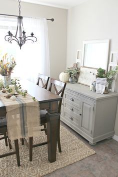 Fall Decor! Buffet table painted in Annie Sloan French Linen chalk paint. www.bluesagedesigns.com