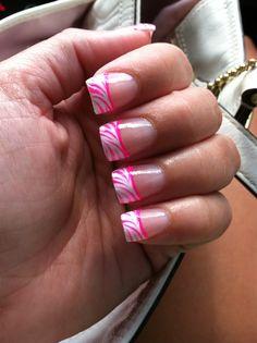 Nails White Tip Hot Pink Zebra