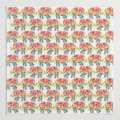 Floral Elephant Napkins Set of 4 - v2
