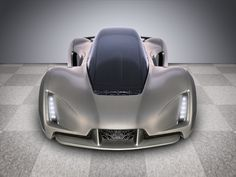 An image shows the front of the Blade, a 3-D–printed car by Divergent 3D.
