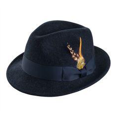 5b8534a3698ab Montique Men s Navy Snap Brim Fedora Felt Hat - Fedoras - Hats Felt Hat