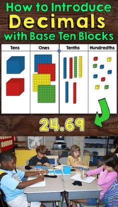Build a decimal is a terrific way to introduce decimals with base blocks! Teaching Decimals, Math Fractions, Teaching Math, Teaching Ideas, Fractions Decimals And Percentages, Teaching Place Values, Multiplying Decimals, Dividing Fractions, Equivalent Fractions